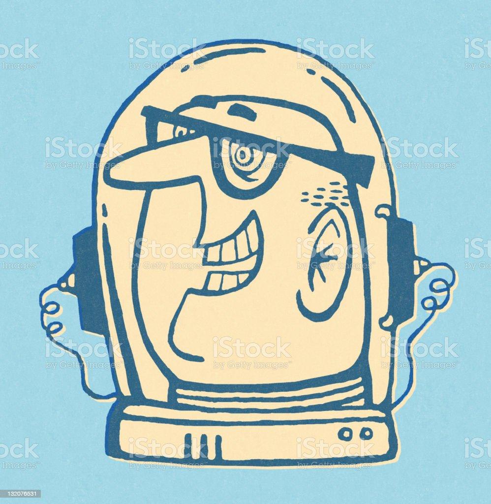 Man in Space Helmet vector art illustration
