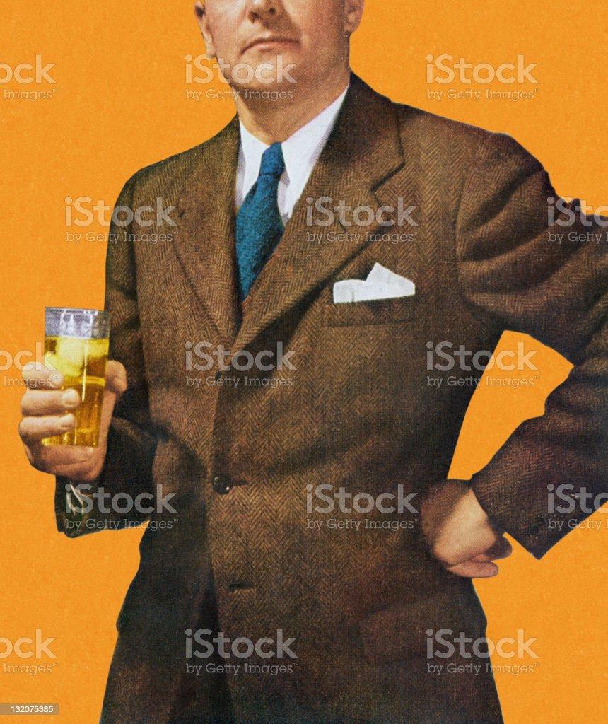Man in Suit Holding Beverage vector art illustration