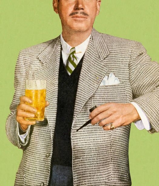 stockillustraties, clipart, cartoons en iconen met man in suit holding beverage - guy with cigar
