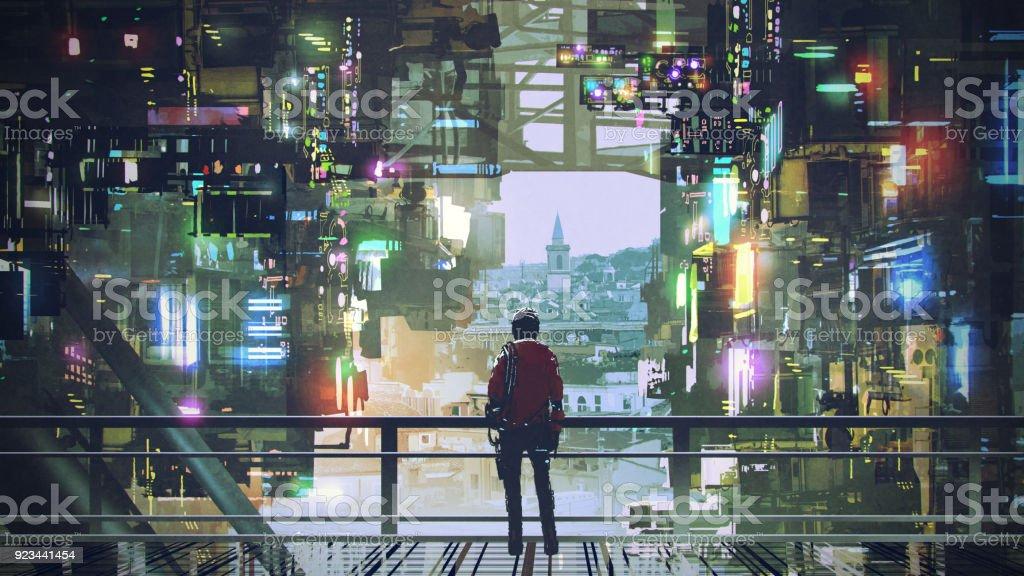 man in the cyberpunk city vector art illustration