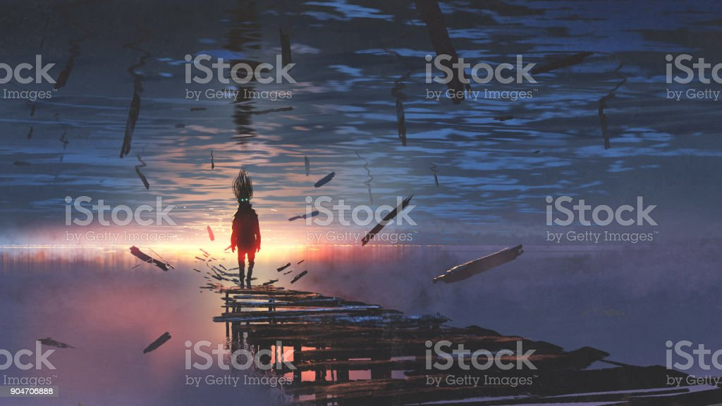 man in the upside down world vector art illustration