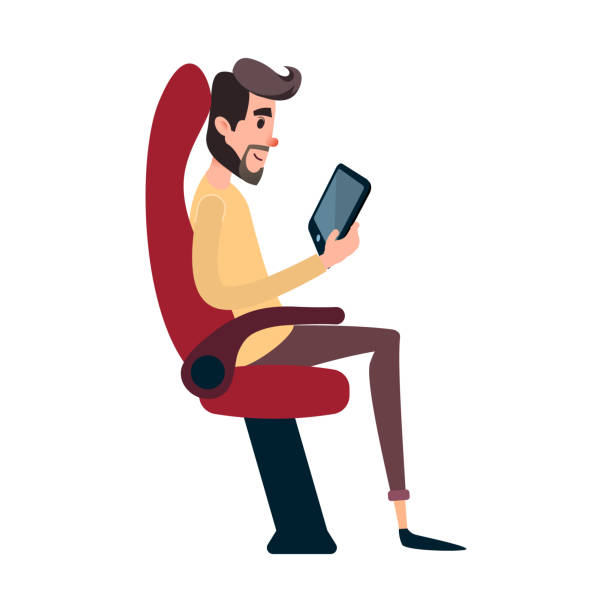 a man is a passenger on a bus or plane. a young man sits in the airplane s chair and looks at the tablet. the bus seat is occupied by the reading man - airplane seat stock illustrations
