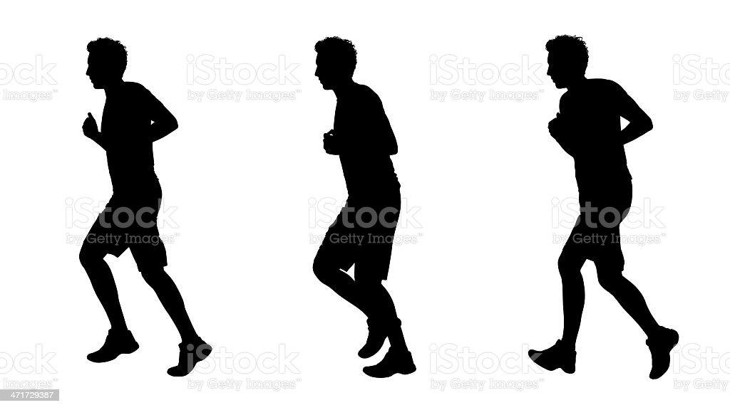 man jogging silhouettes set 1 royalty-free stock vector art