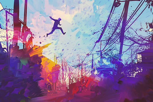 man jumping on the roof in city with abstract grunge vector art illustration