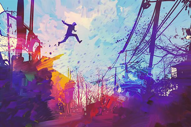 bildbanksillustrationer, clip art samt tecknat material och ikoner med man jumping on the roof in city with abstract grunge - parkour
