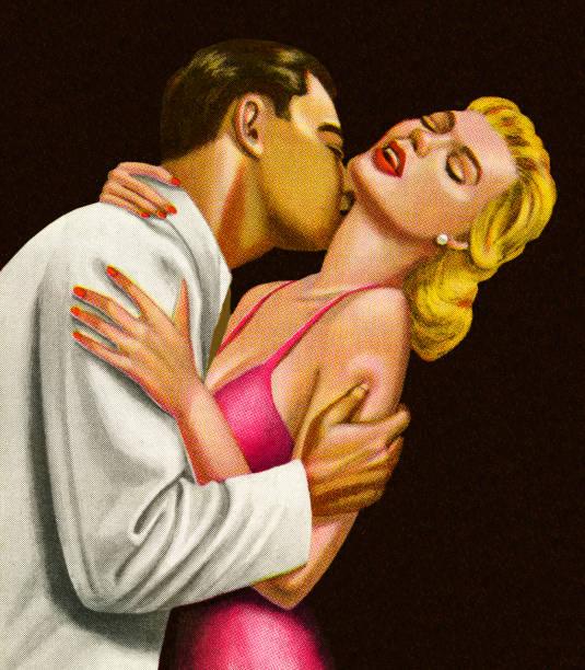 man kissing a woman - romance stock illustrations, clip art, cartoons, & icons