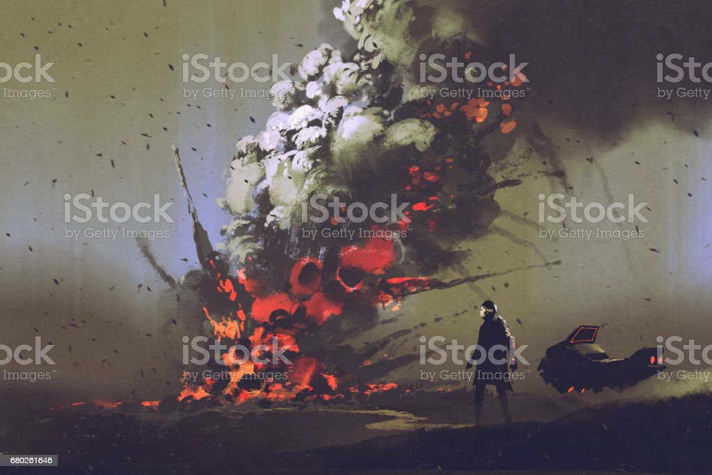 man looking at bomb explosion on the ground vector art illustration