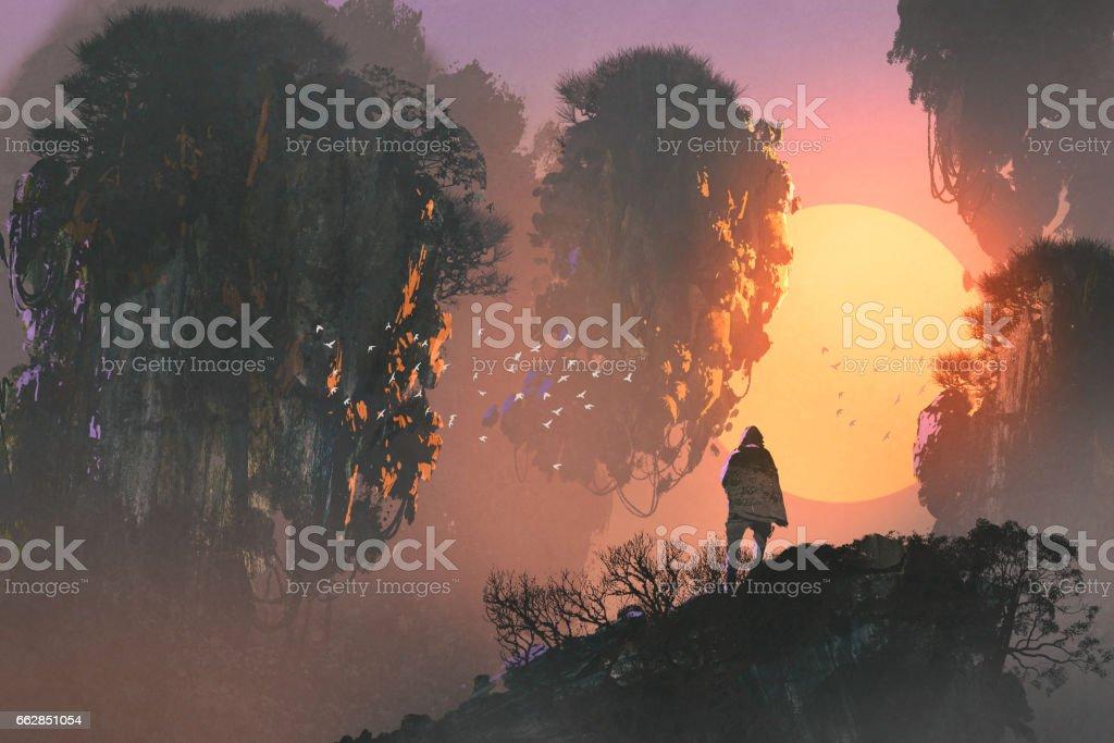 man looking at floating islands vector art illustration