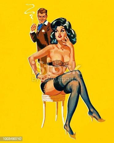 Man Looking at Seductive Woman