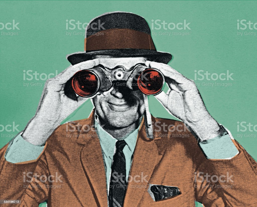 Man Looking Through Binoculars vector art illustration