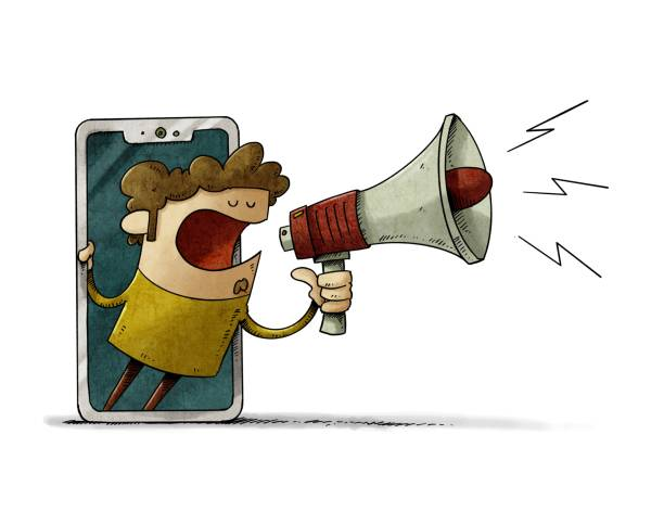 man looks out through a mobile screen with a megaphone in his hand announcing something. news or notification concept. isolated vector art illustration