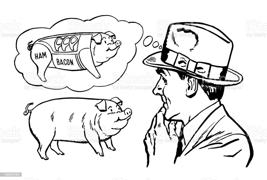 Man Mentally Dissecting Pig royalty-free stock vector art