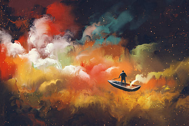 man on a boat in the outer space man on a boat in the outer space with colorful cloud,illustration modern art stock illustrations