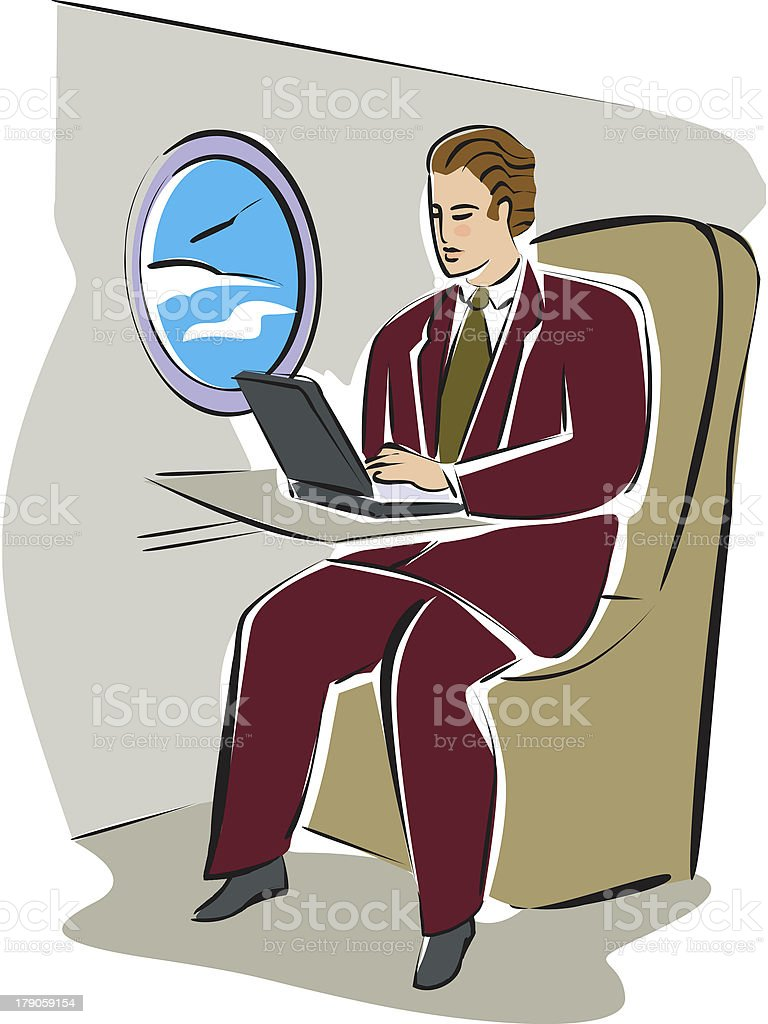 man on an airplane with his laptop computer royalty-free stock vector art