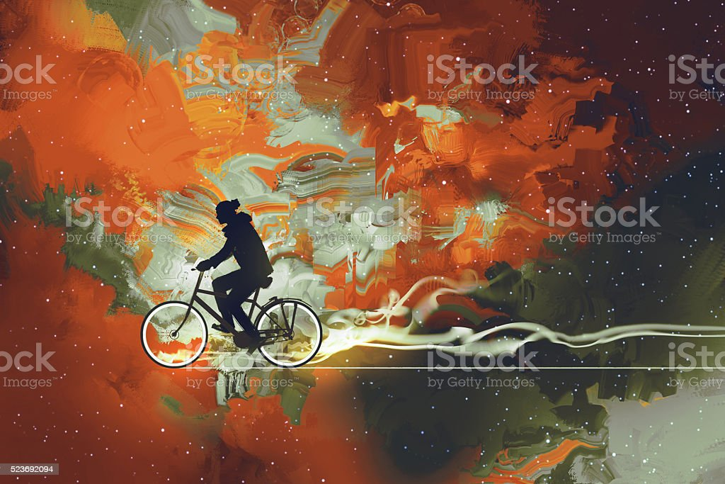 man on bicycle in universe filled vector art illustration
