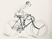 istock Man on bicycle with aries handlebars 1270947428