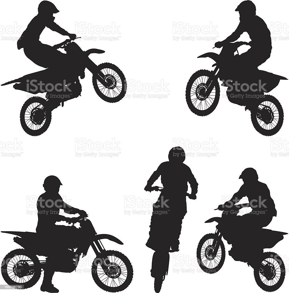 Man On Dirt Bike Motorcycle Stock Vector Art More Images Of