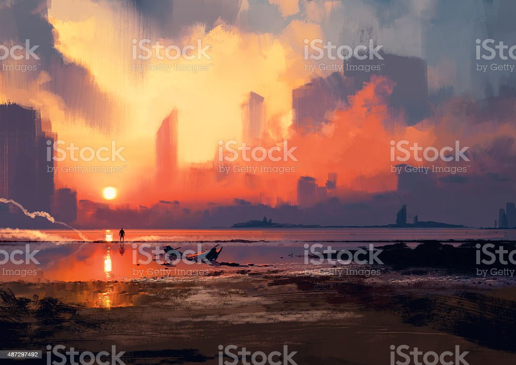 man on sea beach looking at skyscrapers at sunset, vector art illustration
