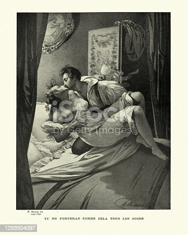 Vintage illustration of Tu me porteras comme cela tous les soirs (You will wear me like this every night), French early 19th Century. Nicolas Eustache Maurin (1799-1850)