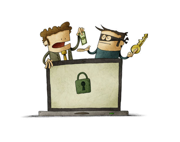 Man pays a thief for a key to unlock his computer. ransomware virus concept. isolated vector art illustration