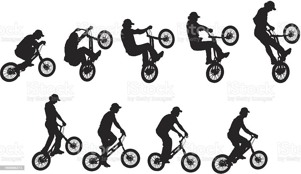 Man performing stunt on BMX bike royalty-free man performing stunt on bmx bike stock vector art & more images of activity