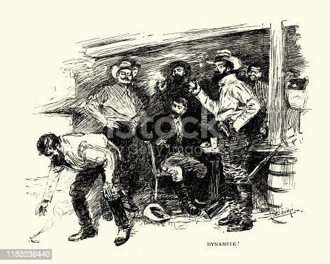 Vintage of a man picking up a lit stick of dynamite.  From an interview with H Rider Haggard