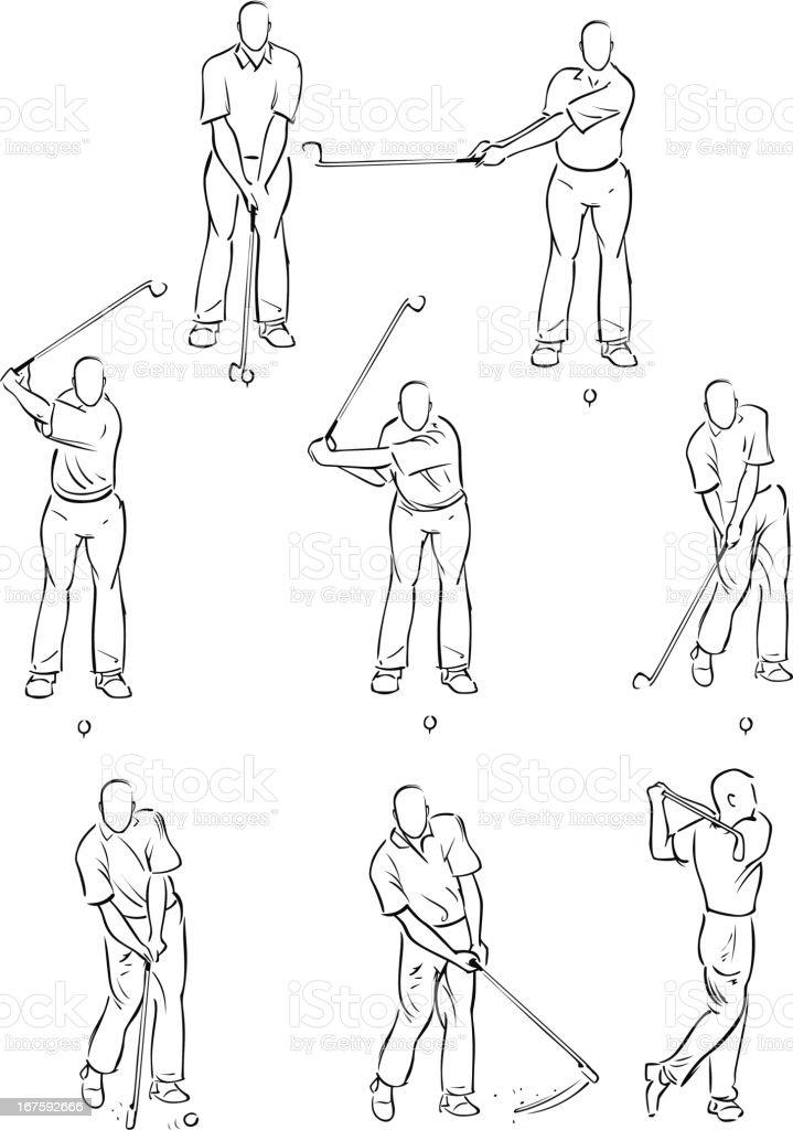 Man playing a golf swing vector art illustration