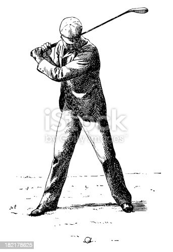 Antique illustration of a man playing golf (isolated on white). CLICK ON THE LINKS BELOW TO SEE SIMILAR IMAGES:
