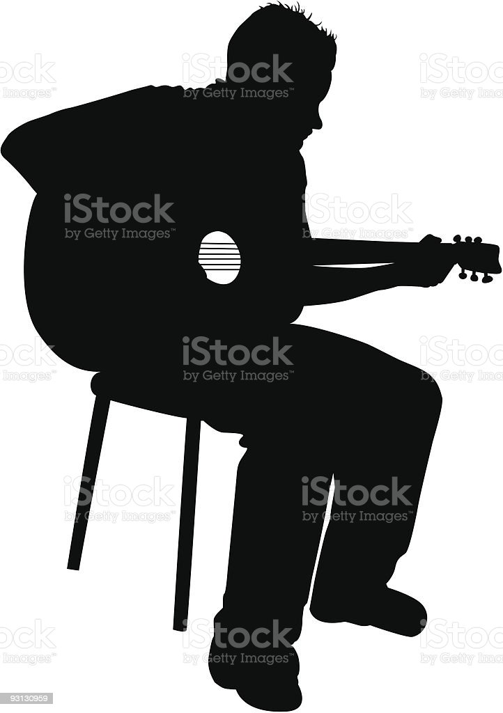 Man playing the acoustic guitar vector art illustration