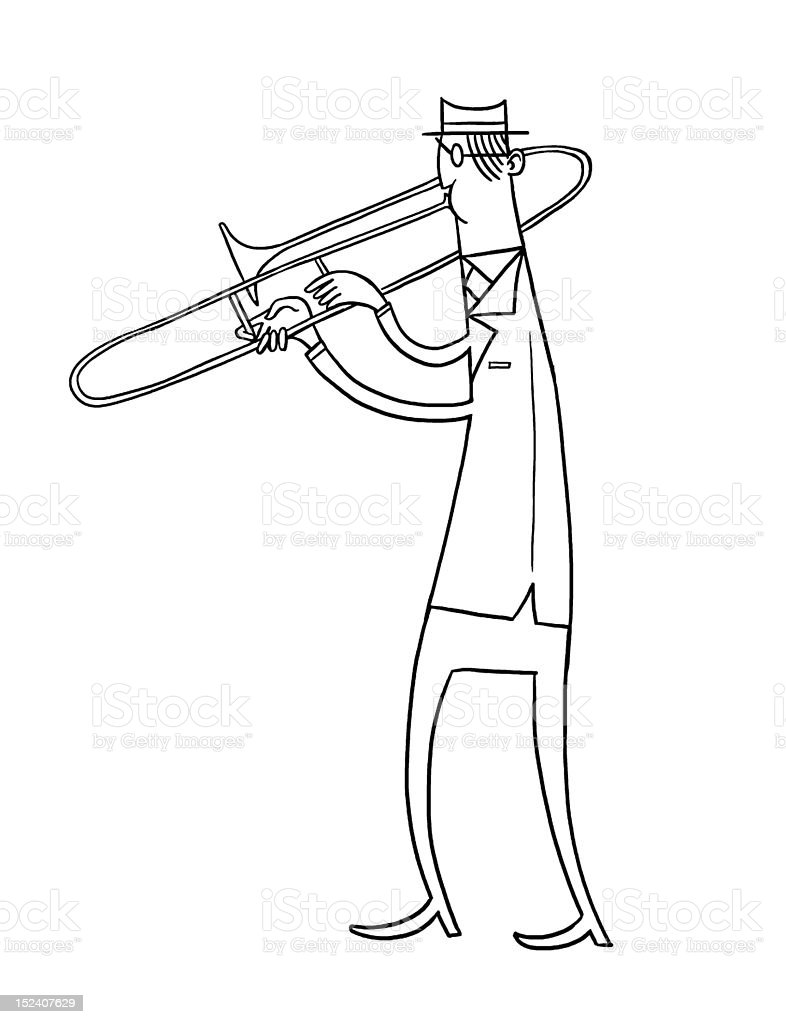 Man Playing Trombone royalty-free man playing trombone stock vector art & more images of adult