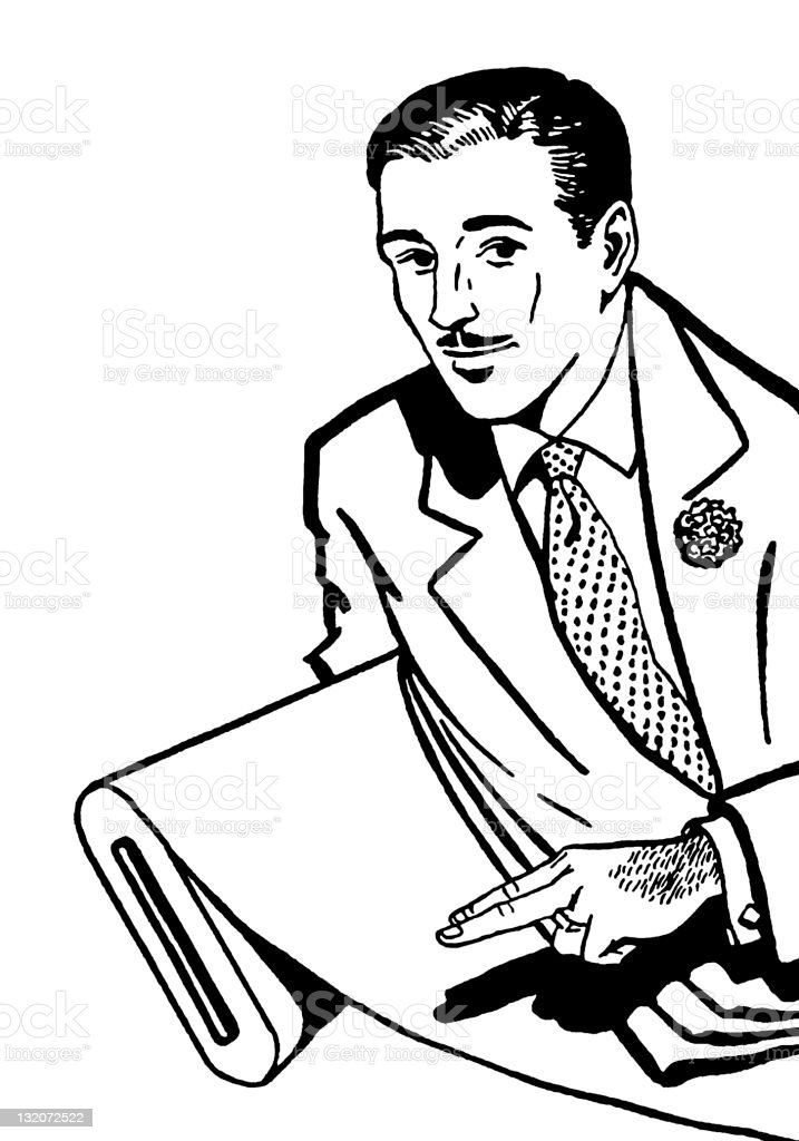 Man Pointing at Bolt of Fabric vector art illustration