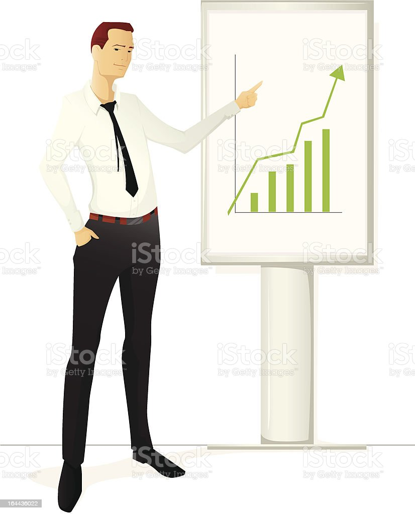 Man pointing at the rising graph royalty-free stock vector art