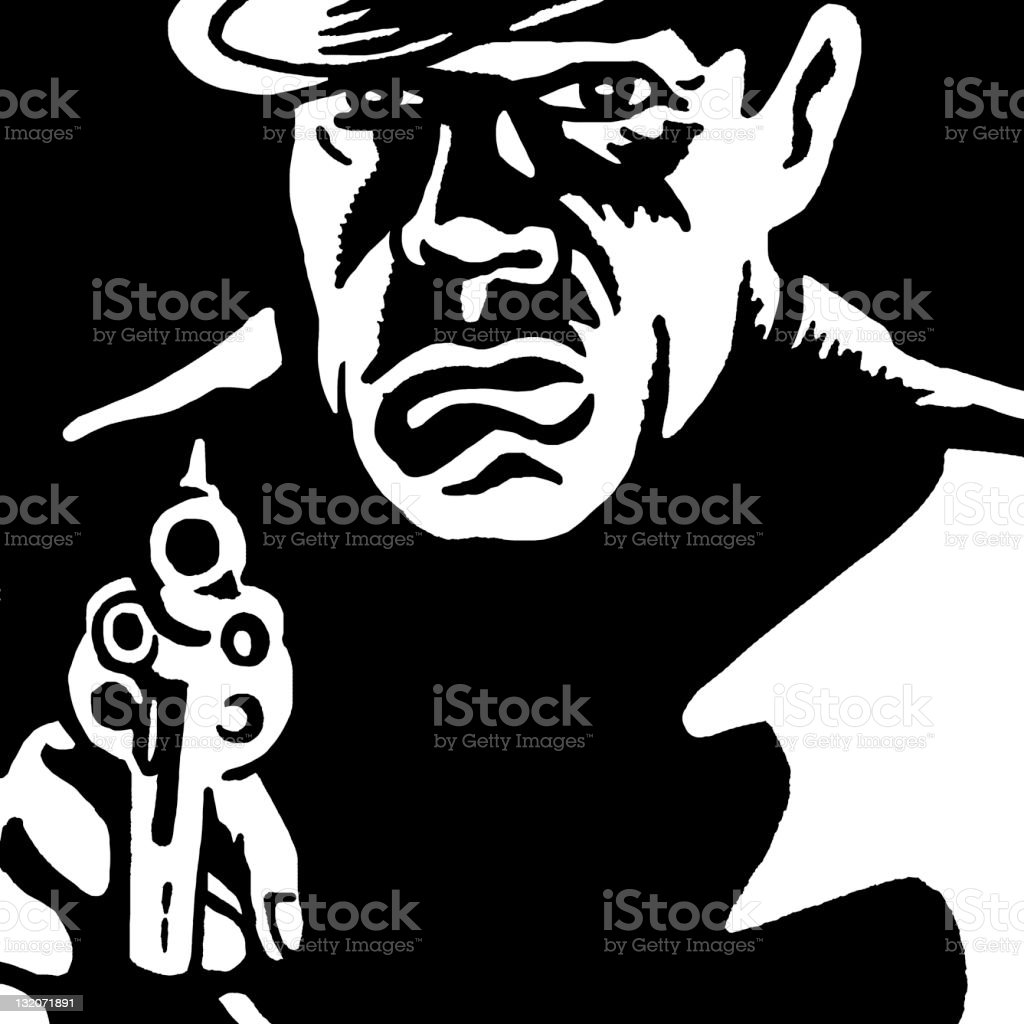 Man Pointing Gun royalty-free stock vector art