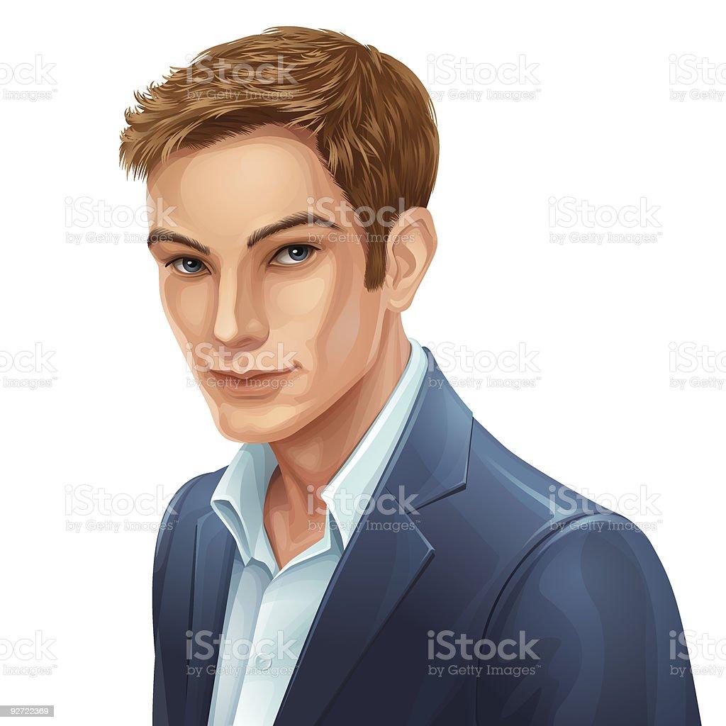 man portrait vector art illustration