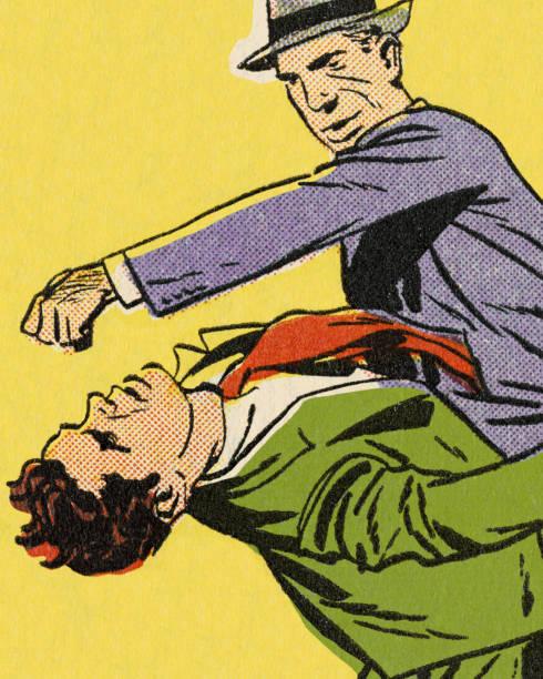 stockillustraties, clipart, cartoons en iconen met man een andere man ponsen - punch