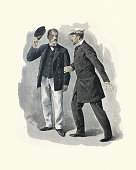 istock Man raising his hat to the ships Captain, Victorian 1268488809