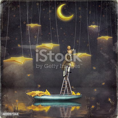 478539432istockphoto Man reaching for stars  at top of tall ladder 469997044