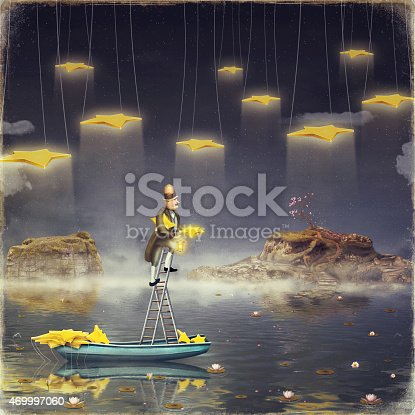 478539432 istock photo Man reaching for stars  at top of tall ladder 469997060