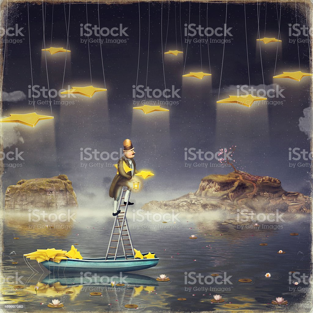 Man reaching for stars  at top of tall ladder vector art illustration