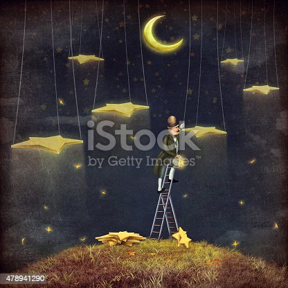 478539432istockphoto Man reaching for stars  at top of tall ladder 478941290