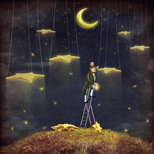man reaching for stars  at top of tall ladder - old man goes pictures stock illustrations, clip art, cartoons, & icons
