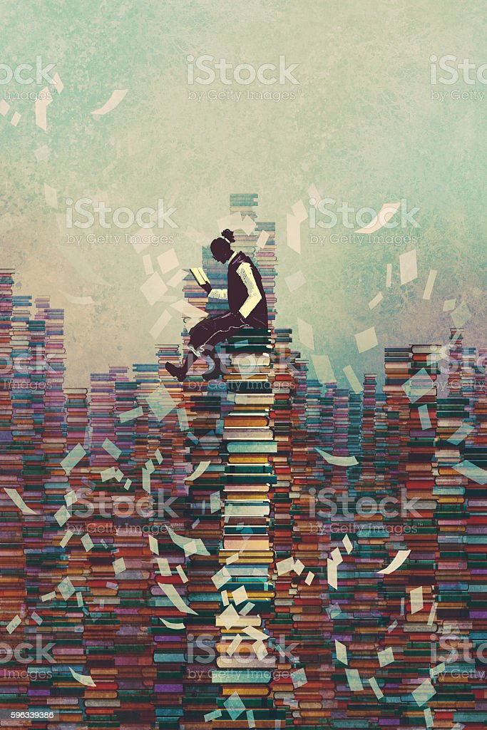 man reading book while sitting on pile of books - Illustration vectorielle