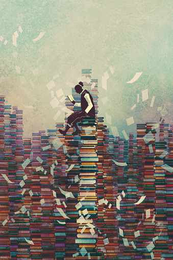 Man Reading Book While Sitting On Pile Of Books Stock Illustration - Download Image Now