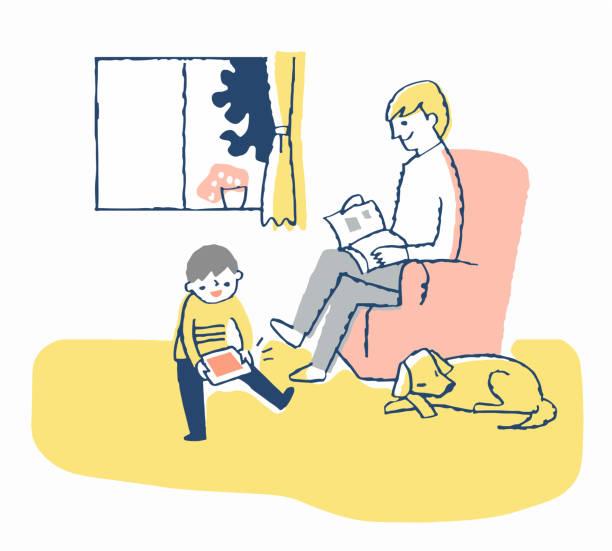illustrazioni stock, clip art, cartoni animati e icone di tendenza di a man relaxing on the sofa and his son - two students together asian