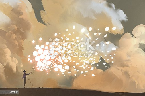 man releasing glowing balloons and butterflies flock in the sky,illustration painting