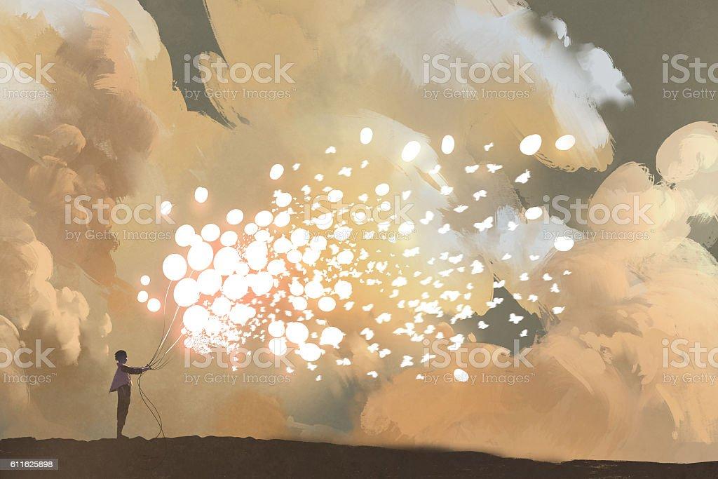 man releasing glowing balloons and butterflies flock vector art illustration