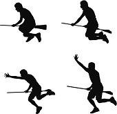 Man riding a broom