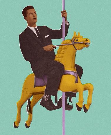 Man Riding a Carousel Horse
