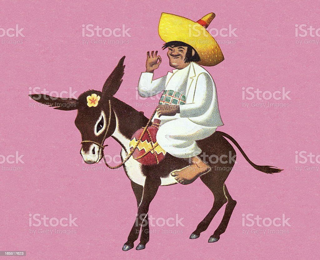 Man Riding a Donkey vector art illustration