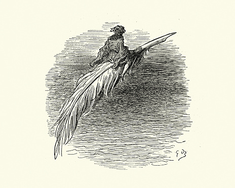 Vintage illustration of scene from Orlando Furioso illustrated by Gustave Dore. Man riding a Feather Quill Pen